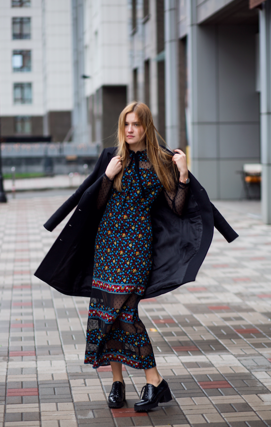 PRINTED AUTUMN / MAJE DRESS